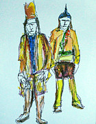 Canadian Indian Art Paintings - Big Feather and Little Bear by Brian Forrest