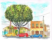 Santa Monica Paintings - Big figus and yellow house in Curson Ave - West Hollywood - California by Carlos G Groppa