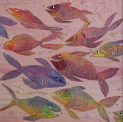 Seascape Tapestries - Textiles Framed Prints - Big fish Little fish Framed Print by Hazel Millington