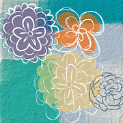 Textures Prints - Big Flowers Print by Linda Woods