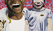 Red Balloons Prints - Big Freedia and Yue Minjun Print by Marcella Lassen