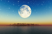 Big Full Moon Behind Island Print by Aleksey Tugolukov