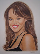 Rihanna Drawings - Big Hair by Gary Fernandez