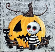 Creepy Mixed Media - Big Juicy Tears of Blood and Pain No. 11 The Great Pumpkin by Oddball Art Co by Lizzy Love