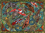 Koi Painting Posters - Big Koi Pond Poster by Melissa Cole