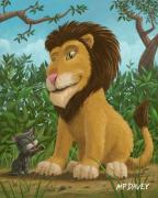 Friendly Cartoon Posters - Big Lion Small Cat Poster by Martin Davey