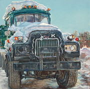 Old Trucks Paintings - Big Mack by Sharon Jordan Bahosh