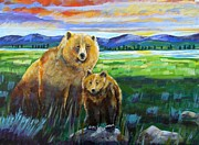 Yellowstone Painting Originals - Big Mama and her Cub by Harriet Peck Taylor