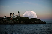 Maine Lighthouses Digital Art Framed Prints - Big moon rise Framed Print by Jeff Folger