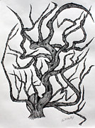 Pen And Ink Drawing Prints - Big nose tree Print by Fred Miller