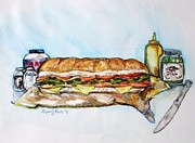 Italian Meal Painting Prints - Big Ol Samich Print by Shana Rowe