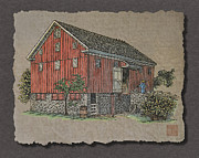 Interior Scene Digital Art Originals - Big Old Red Bank Barn And Farmer by Richard Neuman