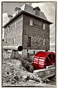 Grist Mill Prints - Big Otter Red Wheel  Print by Steve Hurt