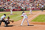Red Sox Framed Prints - Big Papi at Bat Framed Print by Dennis Coates