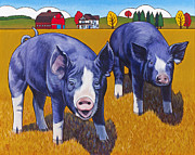Pig Paintings - Big Pigs by Stacey Neumiller