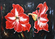 Amarillys Paintings - Big Red Amarillys by Ilona Tigges - Goetze