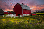 Dairy Barns Posters - Big Red at Sunset Poster by Debra and Dave Vanderlaan