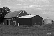Rural Indiana Prints - Big Red Barn in Black and White Print by Suzanne Gaff