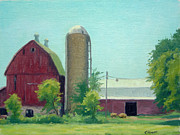 Barn Door Painting Framed Prints - Big Red Barn Framed Print by Rick Hansen
