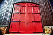 Wine Cellar Photos - Big Red Doors by Cheryl Young