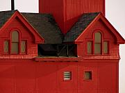 Wooden Building Posters - Big Red Holland Harbor Light Michigan Poster by Michelle Calkins