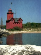 Wooden Stairs Posters - Big Red Holland Michigan Lighthouse Poster by Michelle Calkins