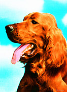 Paw Mixed Media Posters - Big Red - Irish Setter Dog Art By Sharon Cummings Poster by Sharon Cummings