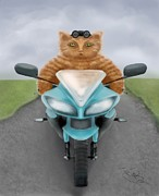 Motor Digital Art Prints - Big Red the biker cat Print by Marlene Watson