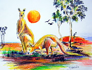 Kangaroo Drawings - Big Reds Kangas by Roberto Gagliardi
