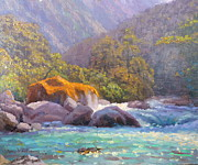 Terry Perham Art - Big Rocks Holyford River by Terry Perham