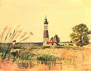 Mid West Landscape Art Posters - Big Sable Lighthouse 1945 Poster by Art By Tolpo Collection