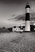 Sea Oats Prints - Big Sable Point Lighthouse in Black and White Print by Sebastian Musial