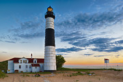 Sea Oats Prints - Big Sable Point Lighthouse Sunset Print by Sebastian Musial