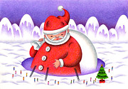 Snowy Night Night Drawings Posters - Big Santa Claus and villagers Poster by T Koni