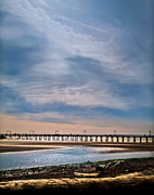 Seascapes Posters - Big Skies Over The Pier Poster by Eva Kondzialkiewicz