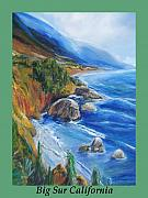 Evergreen Drawings Posters - Big Sur At Fall time Poster by Eric  Schiabor