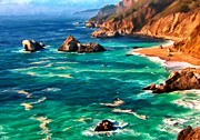 California Coast Paintings - Big Sur Coast by Michael Pickett