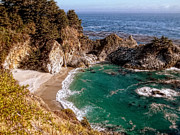 Ocean Scenes Digital Art Framed Prints - Big Sur - McWay Falls Framed Print by Glenn McCarthy Art and Photography