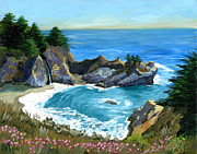 Pfeiffer Paintings - Big Sur Waterfall by Alice Leggett
