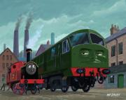 Kids Room Framed Prints - Big train little train Framed Print by Martin Davey