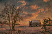 Snow Landscapes Metal Prints - Big Tree Little Barn Metal Print by Kathy Jennings