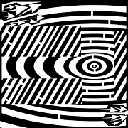 Tree Lines Drawings Prints - Big Tree Maze  Print by Yonatan Frimer Maze Artist