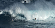 Extreme Sports Prints - Big Wave Surfers Maui Print by Bob Christopher