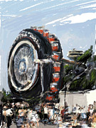 Tire Mixed Media - Big Wheel in the Sky by Russell Pierce