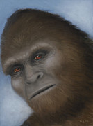 Sci-fi Pastels Prints - Bigfoot The Unexpected Encounter Print by Rebekah Sisk