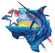 Black Marlin Framed Prints - Bigger in Texas Framed Print by Carey Chen