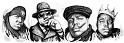King Of Pop Drawings Prints - Biggie Smalls art drawing poster Print by Kim Wang