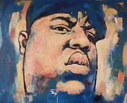 Character Portraits Mixed Media Framed Prints - Biggie Smalls art painting poster Framed Print by Kim Wang