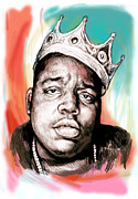 Character Portraits Mixed Media Framed Prints - Biggie smalls colour drawing art poster Framed Print by Kim Wang