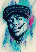 Character Portraits Mixed Media Framed Prints - Biggie smalls Modern art drawing poster Framed Print by Kim Wang